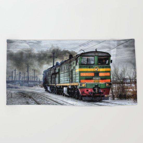 Locomotive (Train in Russia)  Beach Towel