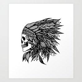 Feather Skull Art Print