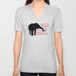 Ride bicycles not elephants. Black elephant, Red text Unisex V-Neck
