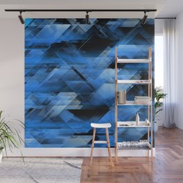 Abstract geometric blue Wall Mural