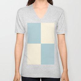 Pale blue and cream squares Unisex V-Neck