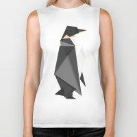 fractal Biker Tanks featuring Fractal geometric emperor penguin by Picomodi