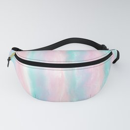 Modern hand painted pink teal lilac watercolor brushstrokes Fanny Pack