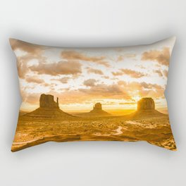 Southwest Wanderlust - Monument Valley Sunrise Nature Photography Rectangular Pillow