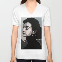 audrey V-neck T-shirts featuring Audrey by AUSKMe2Paint