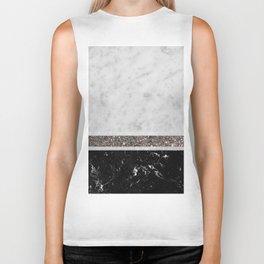 White and Black Marble Silver Glitter Stripe Glam #1 #minimal #decor #art #society6 Biker Tank