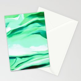Green Abstract Painting Stationery Cards