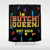 tetris Shower Curtains featuring BQ - Tetris by lessdanthree