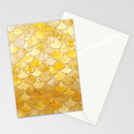 Sunny Gold Colorful Watercolor Trendy Glitter Mermaid Scales Stationery Cards