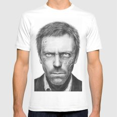Hugh Laurie from House MD Doctor House White Mens Fitted Tee SMALL