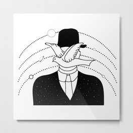 a man in a hat and a dove Metal Print