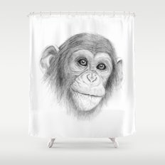 A Chimpanzee :: Not Monkeying Around Shower Curtain
