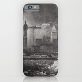 The Passing Storm, coastal cityscape skyline black and white portrait by Martin Lewis   iPhone Case