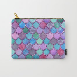 Colorful Pink Glitter Mermaid Scales Carry-All Pouch