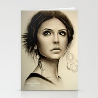 the vampire diaries Stationery Cards featuring Nina Dobrev The Vampire Diaries  by Yuliya  Talanova
