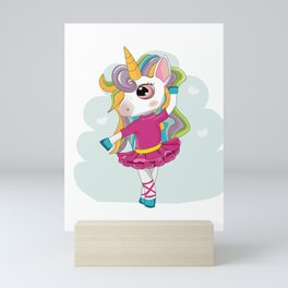 Ballet Dancer Enchanted Rainbow Unicorn Mini Art Print