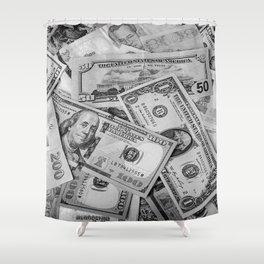 Black&white money patten Shower Curtain