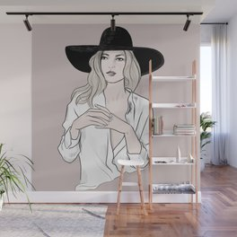 Fashion icon - Kate Moss inspired illustration Wall Mural