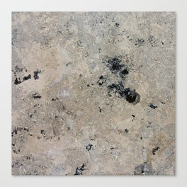 Abstract vintage black gray ivory marble Canvas Print