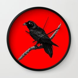 Decorative Chinese Red Black Crow Design Wall Clock