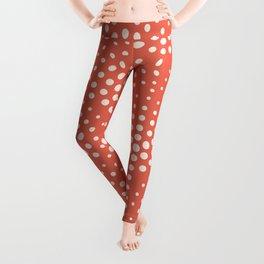 Pantone Living Coral with Cream Polka Dot Scallop Pattern Leggings