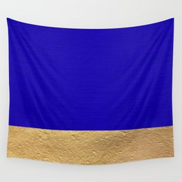 Color Blocked Gold & Cerulean Wall Tapestry