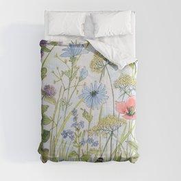Floral Watercolor Botanical Cottage Garden Flowers Bees Nature Art Comforters