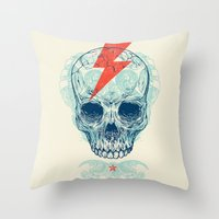 iggy pop Throw Pillows featuring Skull Bolt by Rachel Caldwell