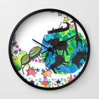 katamari Wall Clocks featuring Earth Beetle by Adrienne S. Price