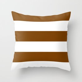 Wide Horizontal Stripes - White and Chocolate Brown Throw Pillow