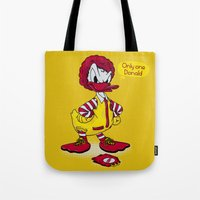 donald duck Tote Bags featuring Donald by 2mzdesign
