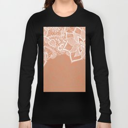 Modern hand drawn floral lace color copper tan roast illustration pattern Long Sleeve T-shirt