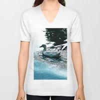 swim V-neck T-shirts featuring Swim by MaximusMax76