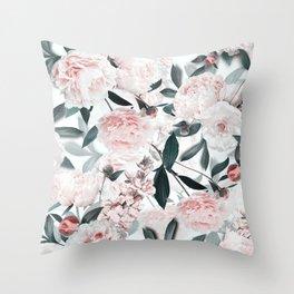 Blush Sepia Peony Flowers Garden Throw Pillow