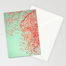 Red leafs over blue sky Stationery Cards