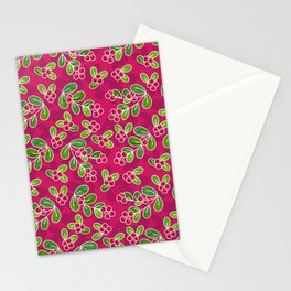 Cranberry Fruit Pattern on Fuchsia Stationery Cards
