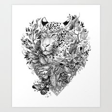 black and white jungle leopard Art Print