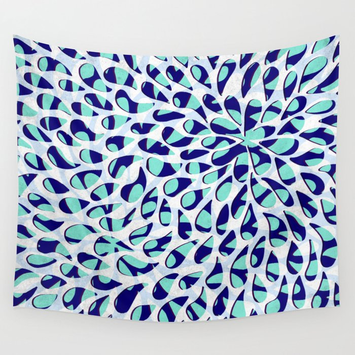 Organic Petals Pattern Navy Blue Turquoise Wall Tapestry