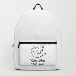 Make Peace, Not War- White Dove with Olive Branch Backpack
