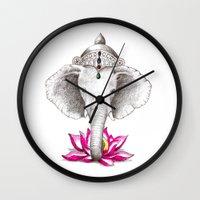ganesh Wall Clocks featuring Ganesh by Tammy Liu-Haller
