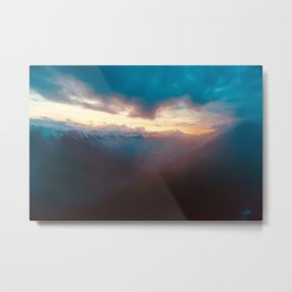 Sunset over the Misty Mountains Metal Print