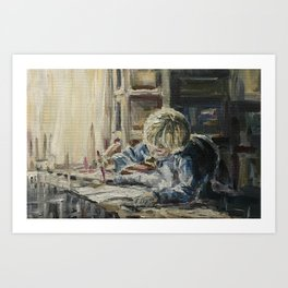 Young artist Print Original Oil Painting On Canvas Cozy Home Art Print
