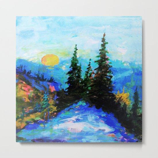 Mountain Blues Painting Metal Print