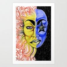 Roobiks Sun and Moon Art Print