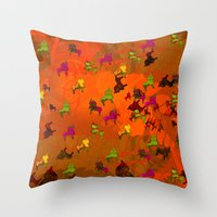 chicago bulls Throw Pillows featuring Dancing Bulls by Iconografico