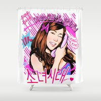 kpop Shower Curtains featuring Tiffany Beep Beep Music Video design by Noir0083