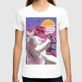 Cat vs Hamster 80s Retro-futurism Cyberpunk T-shirt