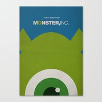 monster inc Canvas Prints featuring Monster, Inc. - Green (Vintage) by Lemontrend Studio
