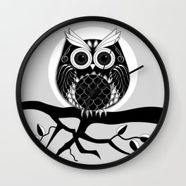 Graphic vector owl on branch in B&W Wall Clock