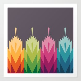 Tribal Feather Pattern Bright Art Print